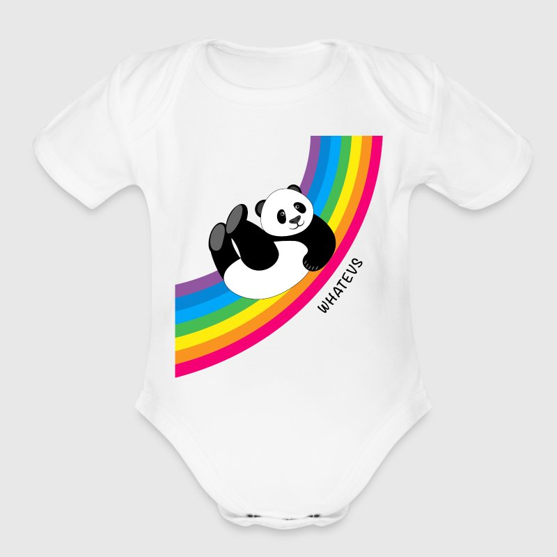 Happy Whatevs Panda on Rainbow Baby   - Short Sleeve Baby Bodysuit