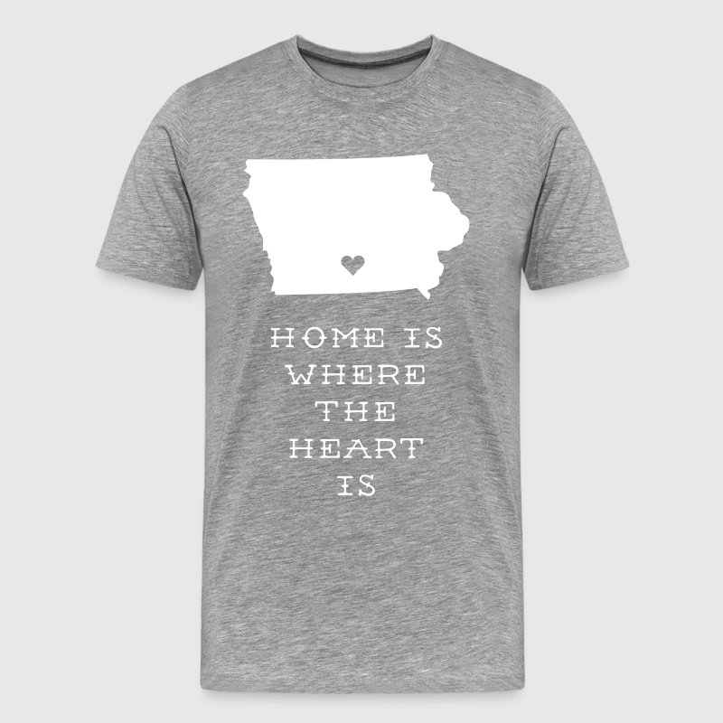 Iowa Home is Where the Heart is State T-shirt T-Shirts - Men's Premium T-Shirt