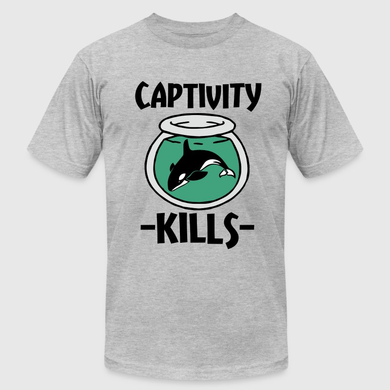 Captivity Kills Orca Whales shirt - Men's T-Shirt by American Apparel
