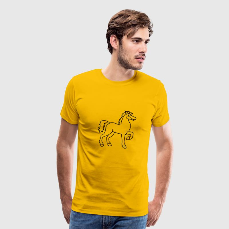 cool riding horse stallion equestrian comic cartoo T-Shirts - Men's Premium T-Shirt