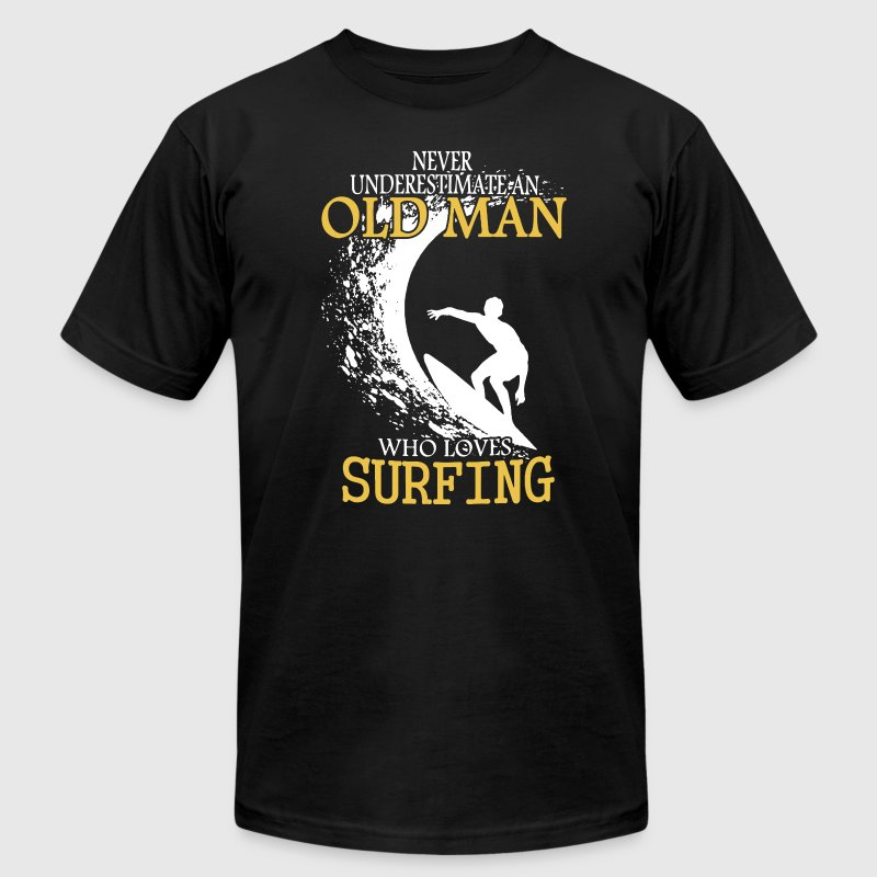 Surfing Old Man Shirt - Men's T-Shirt by American Apparel