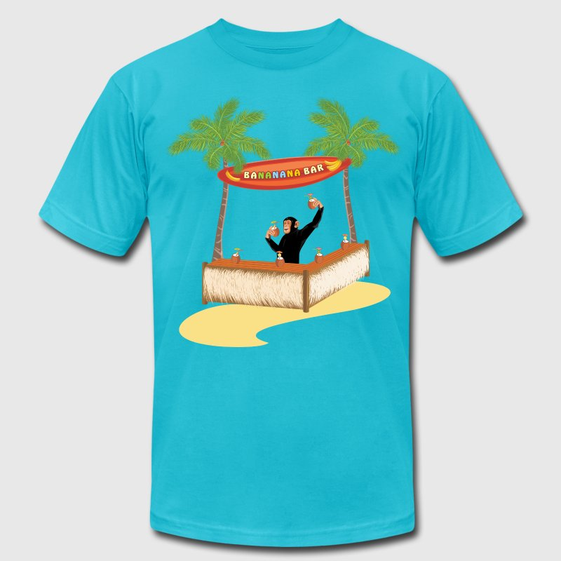 Monkey at a beach bar - Men's Fine Jersey T-Shirt