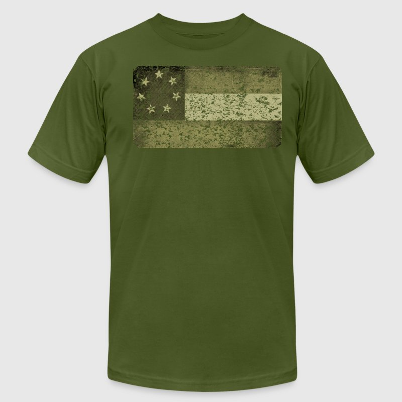 First Confederate Flag, Stars and Bars in Olive - Men's T-Shirt by American Apparel