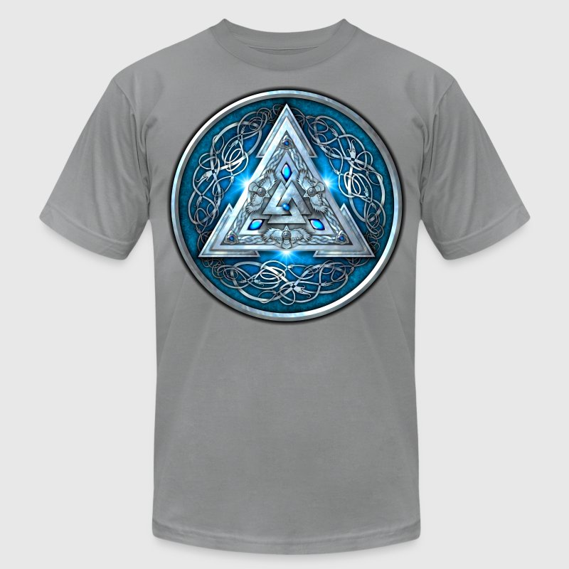 Blue Norse Valknut Shield - Men's T-Shirt by American Apparel