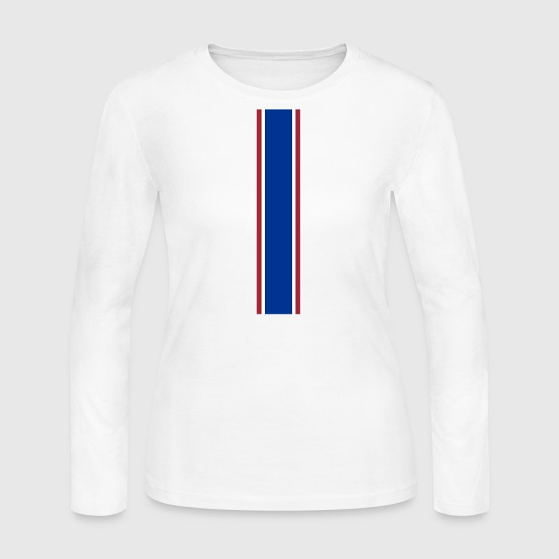 Red White Blue Racing Stripe - Women's Long Sleeve Jersey T-Shirt