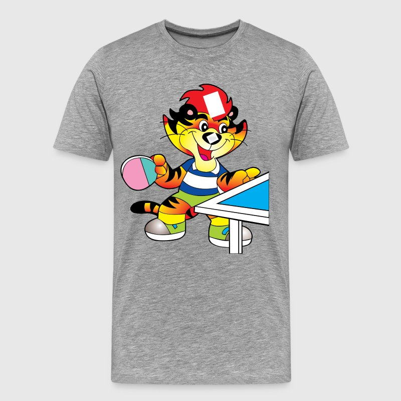 Cartoon tiger playing table tennis - Men's Premium T-Shirt