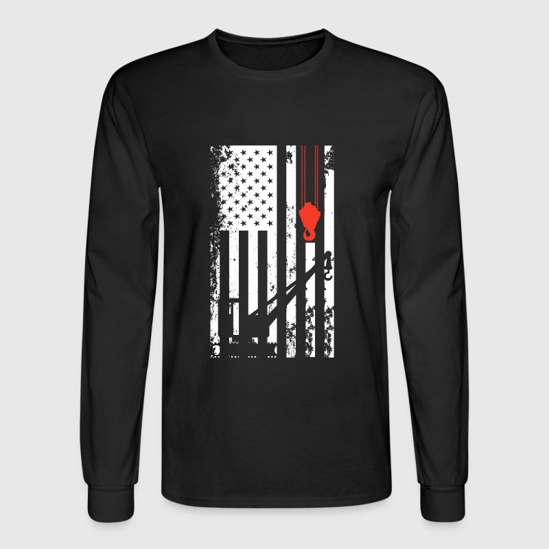 Crane Operator Flag Shirt - Men's Long Sleeve T-Shirt