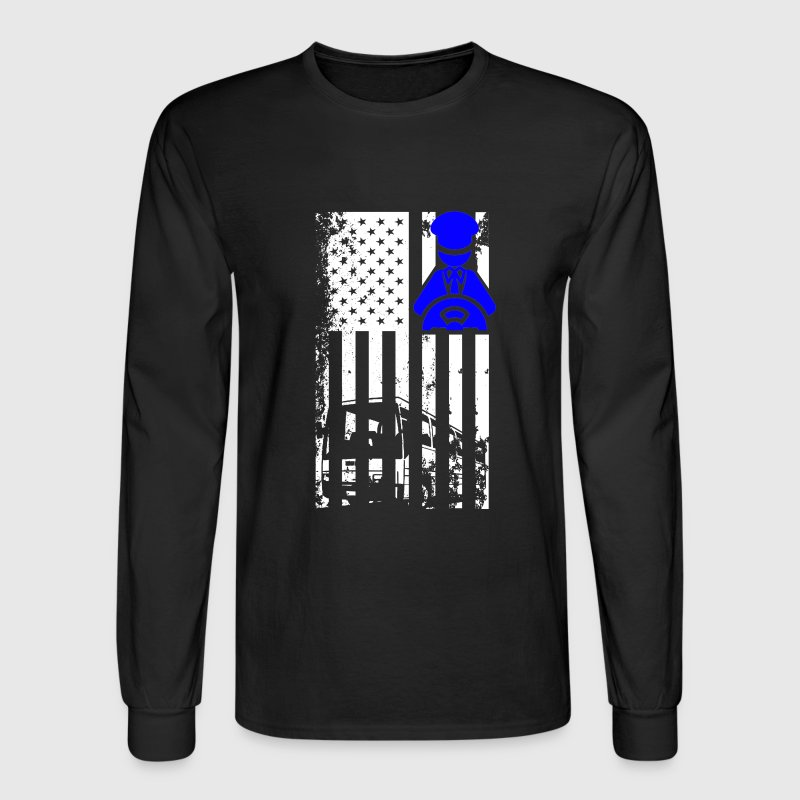 Bus Driver Flag Shirt - Men's Long Sleeve T-Shirt