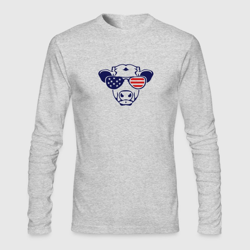 american flag cow colored sun glasses Long Sleeve Shirts - Men's Long Sleeve T-Shirt by Next Level