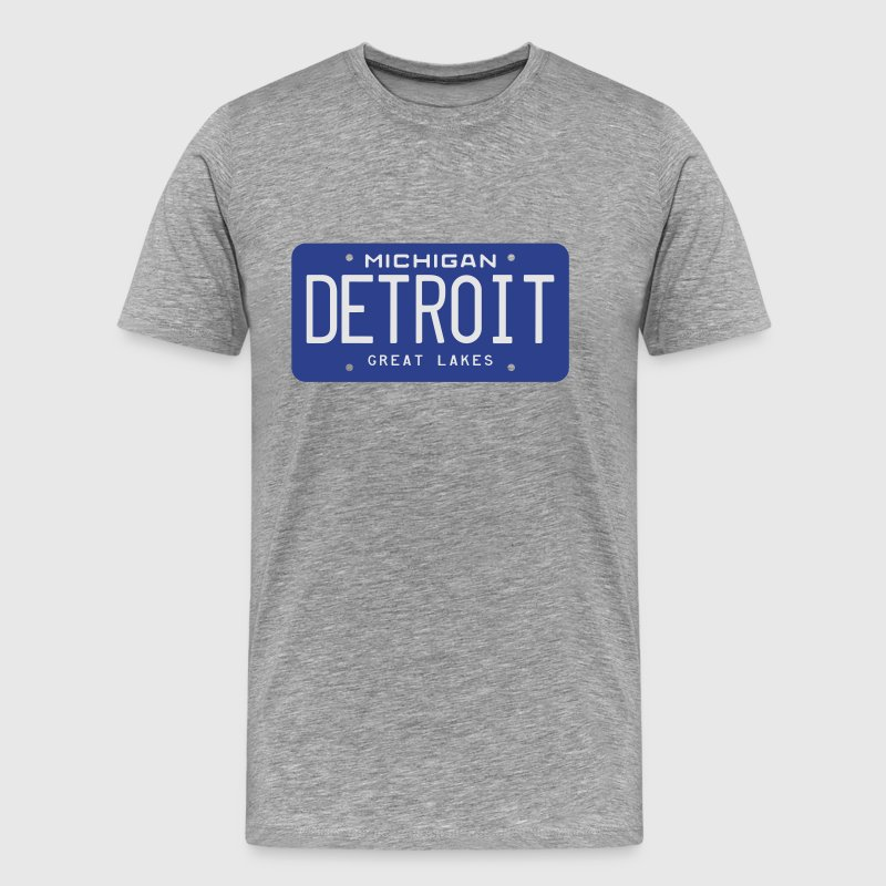 Retro Detroit Michigan License Plate T-Shirt - Men's Premium T-Shirt