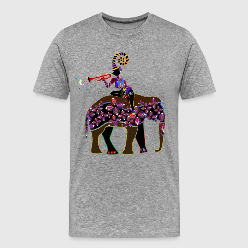 African girl on elephant design T-Shirts - Men's Premium T-Shirt