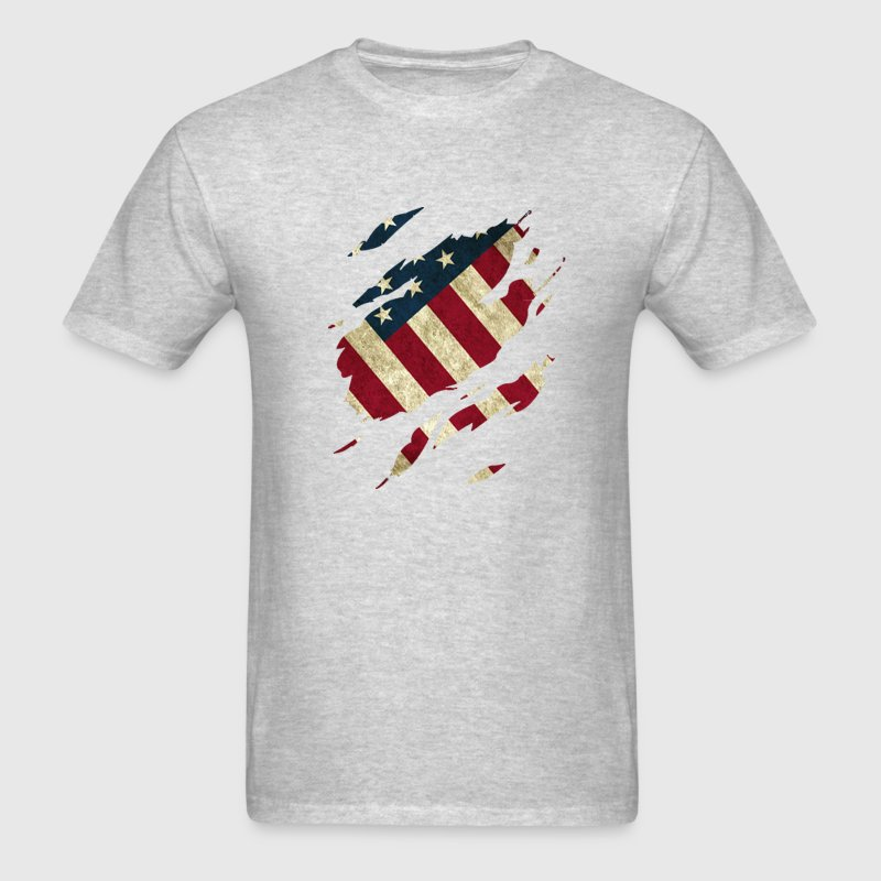 American Flag Ripped Shirt - Men's T-Shirt