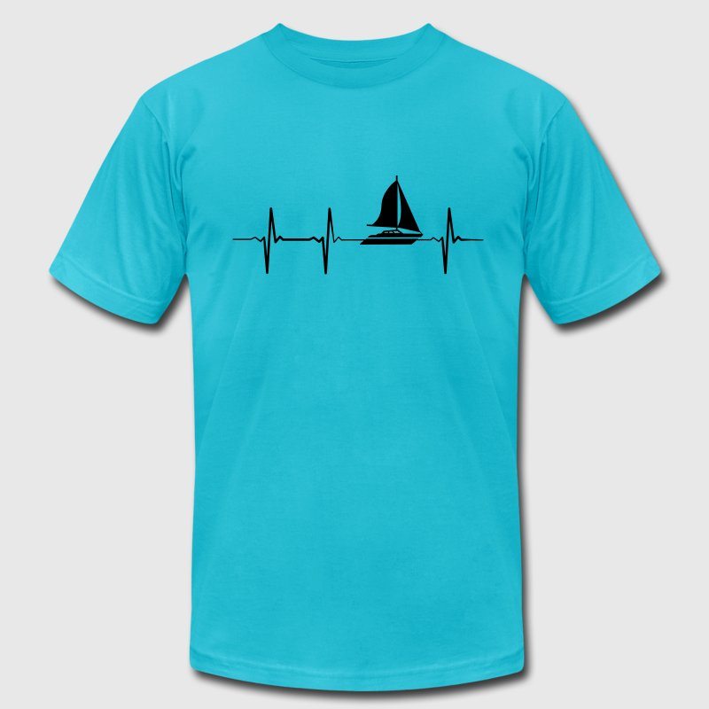 Heartbeat Sailing T-Shirts - Men's T-Shirt by American Apparel
