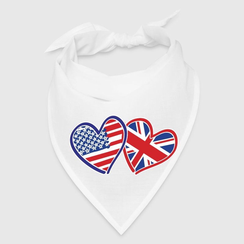USA and UK Flag Love Hearts - Bandana