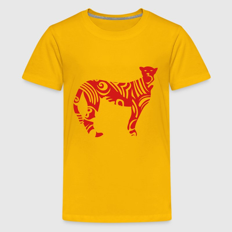 tribal cheetah wild animal designs Kids' Shirts - Kids' Premium T-Shirt