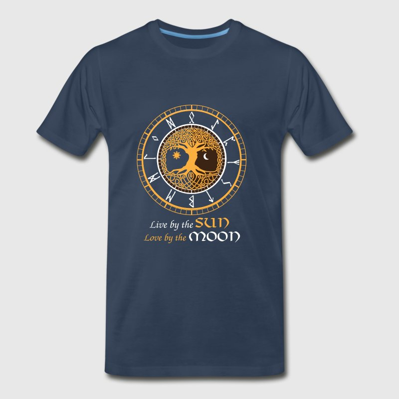 Futhark clock-Live by the sun love by the moon - Men's Premium T-Shirt