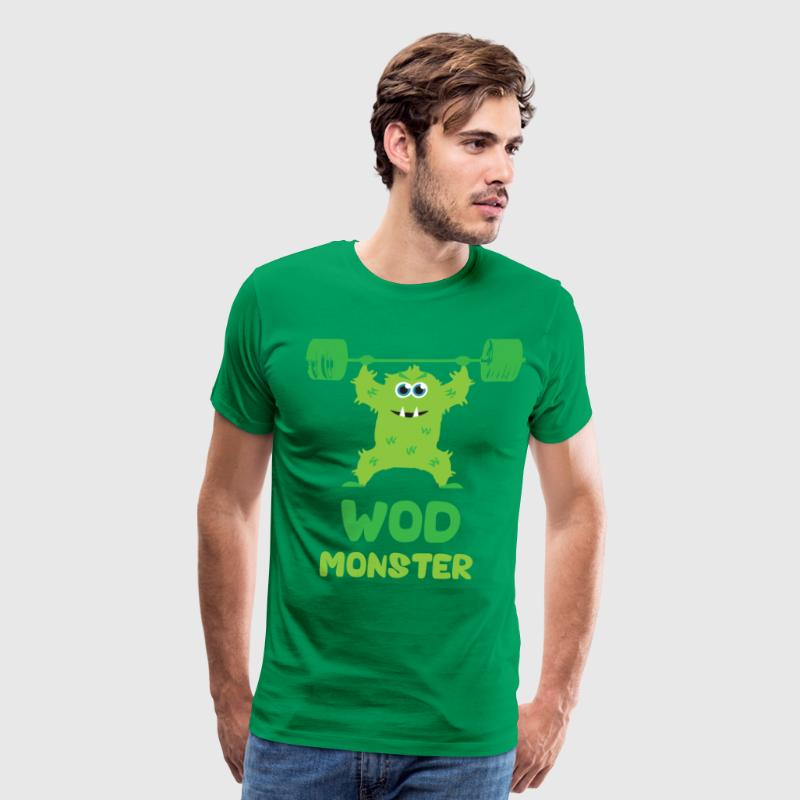 WOD Monster - Green - (Cute CrossFit Character) T-Shirts - Men's Premium T-Shirt