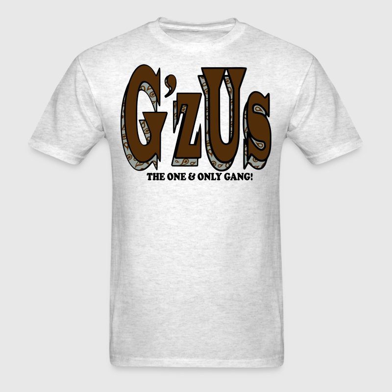 G'zUs/wht blk on gry - Men's T-Shirt