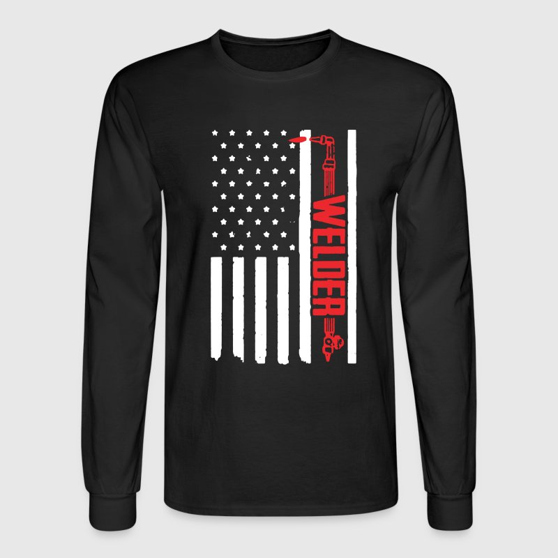 Welder Flag Shirt - Men's Long Sleeve T-Shirt
