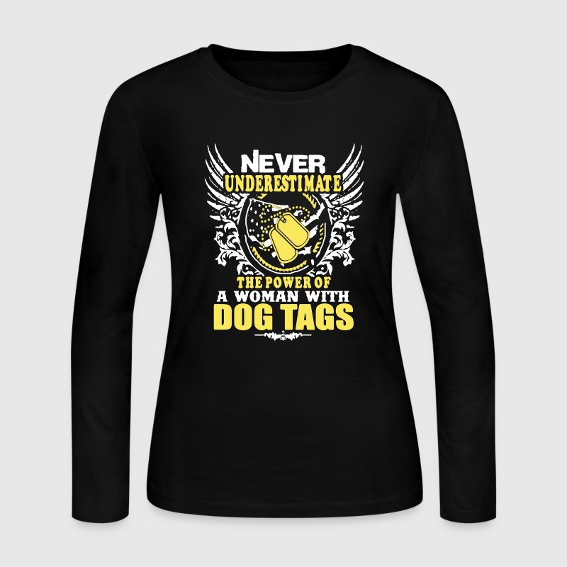 Dog Tags Woman Veteran - Women's Long Sleeve Jersey T-Shirt
