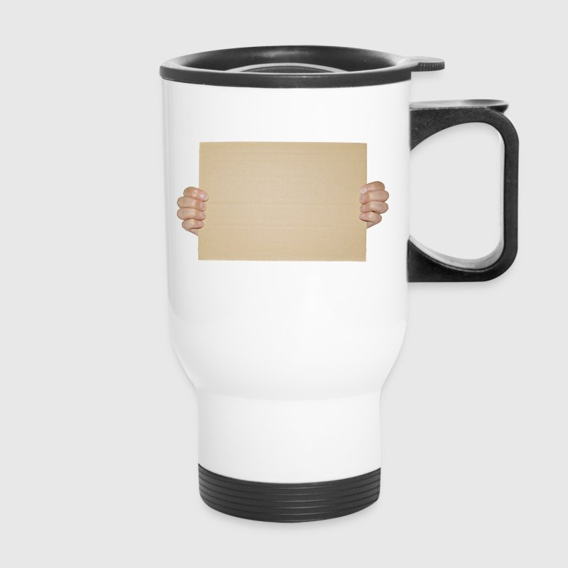 Hands Holding Blank Cardboard Sign - Travel Mug