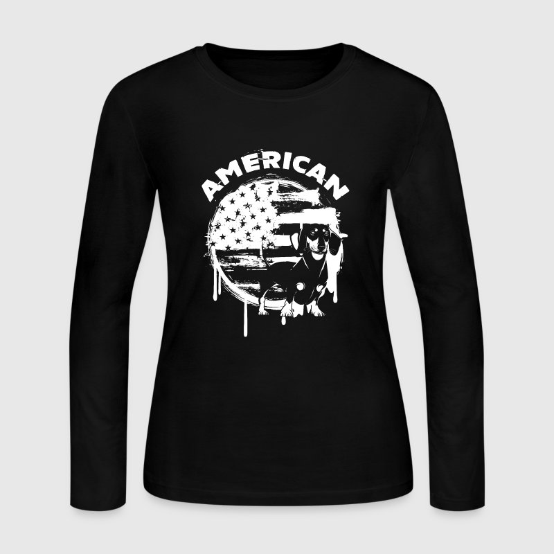 American Dachshund Shirt - Women's Long Sleeve Jersey T-Shirt