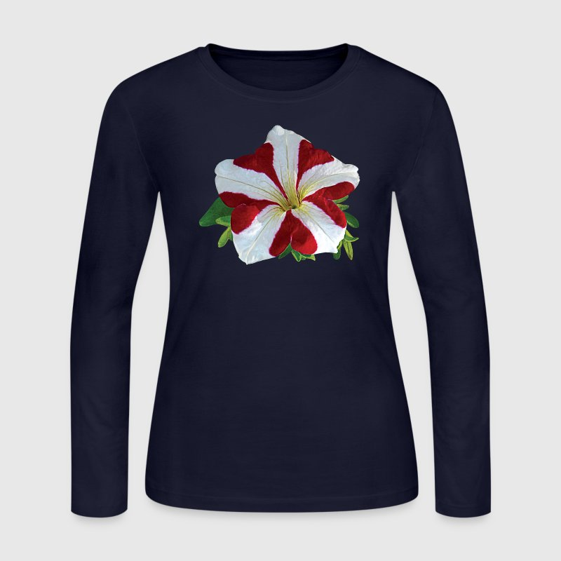 Red and White Petunia Long Sleeve Shirts - Women's Long Sleeve Jersey T-Shirt