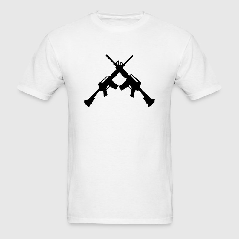 M4 Carbines Silhouettes (Guns Crossed) Symbol T-Shirts - Men's T-Shirt