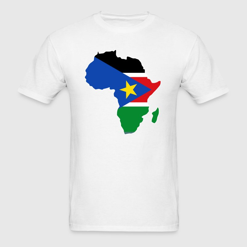 South Sudan Flag In  Africa Map - Men's T-Shirt