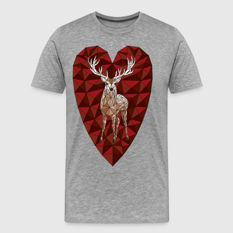 Geometric Deer Heart  T-Shirts - Men's Premium T-Shirt