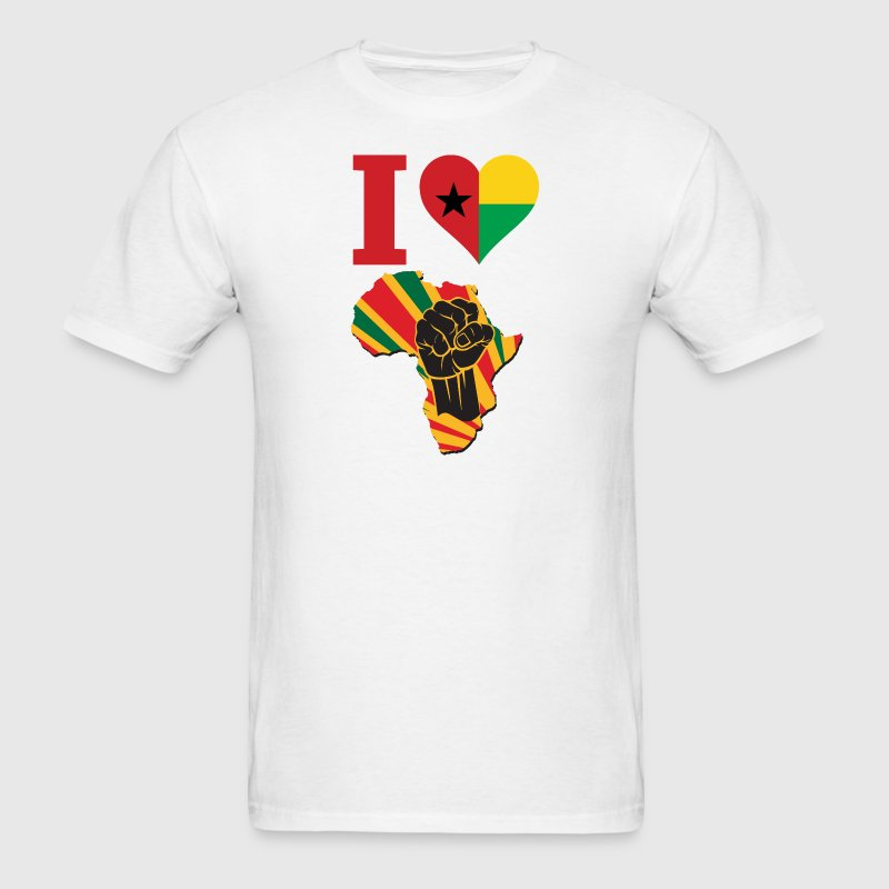 I Love Guinea Bissau Flag Black Power T-Shirt - Men's T-Shirt
