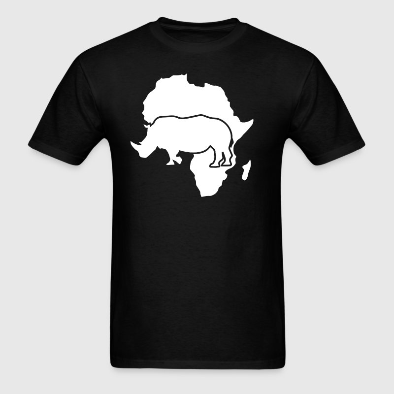 Africa Map with African Safari Rhino  T-Shirt - Men's T-Shirt
