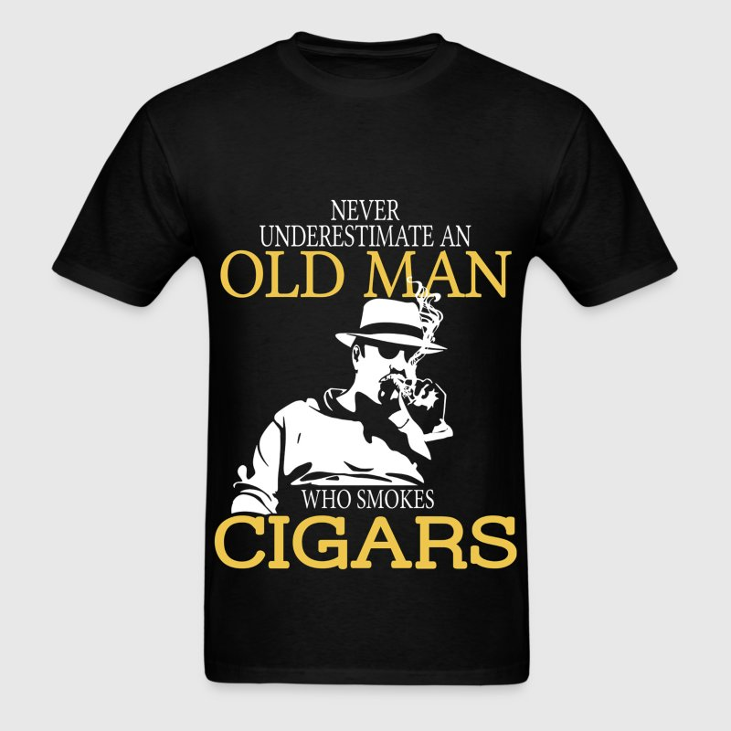 Never Underestimate An Old Man Who Smokes Cigars T-Shirts - Men's T-Shirt