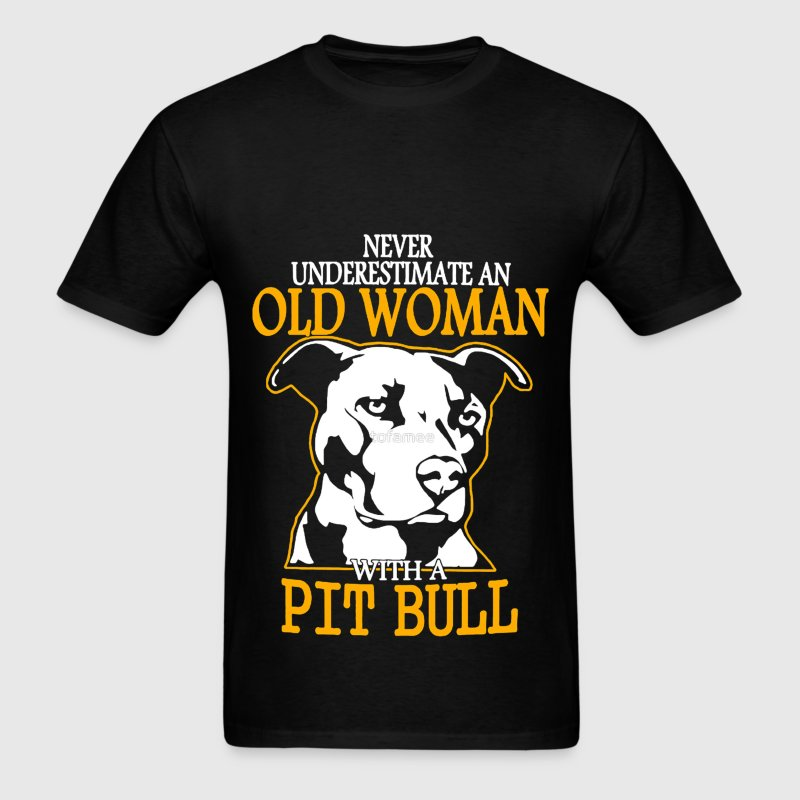 Never Underestimate an Old Woman with a PitBull T-Shirts - Men's T-Shirt