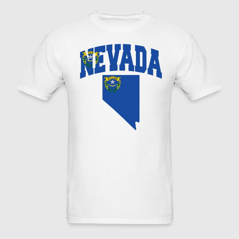 Nevada Flag in Nevada Map T-Shirt - Men's T-Shirt