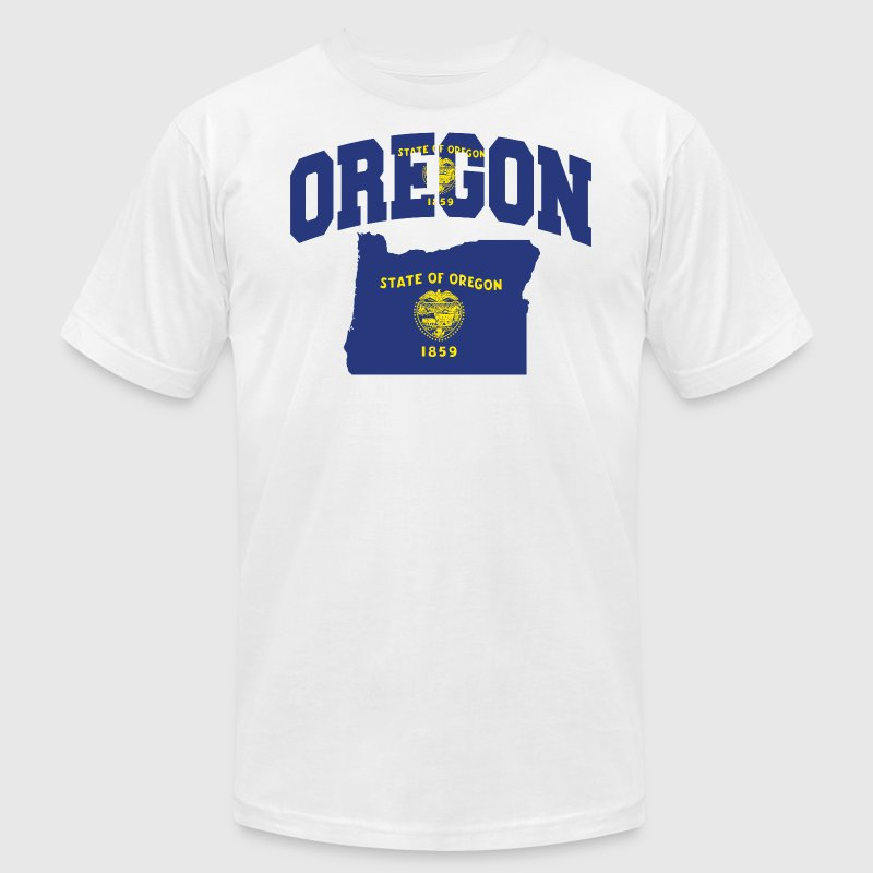 Oregon Flag In Oregon Map American Apparel Tee - Men's T-Shirt by American Apparel