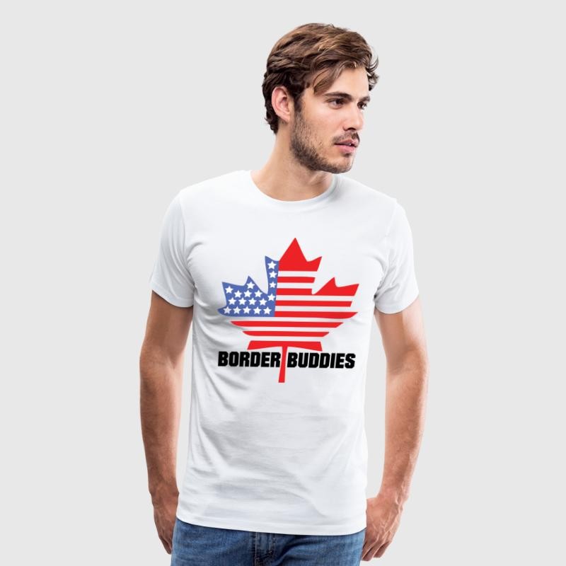 Canada / America Flag - Border Buddies - Men's Premium T-Shirt