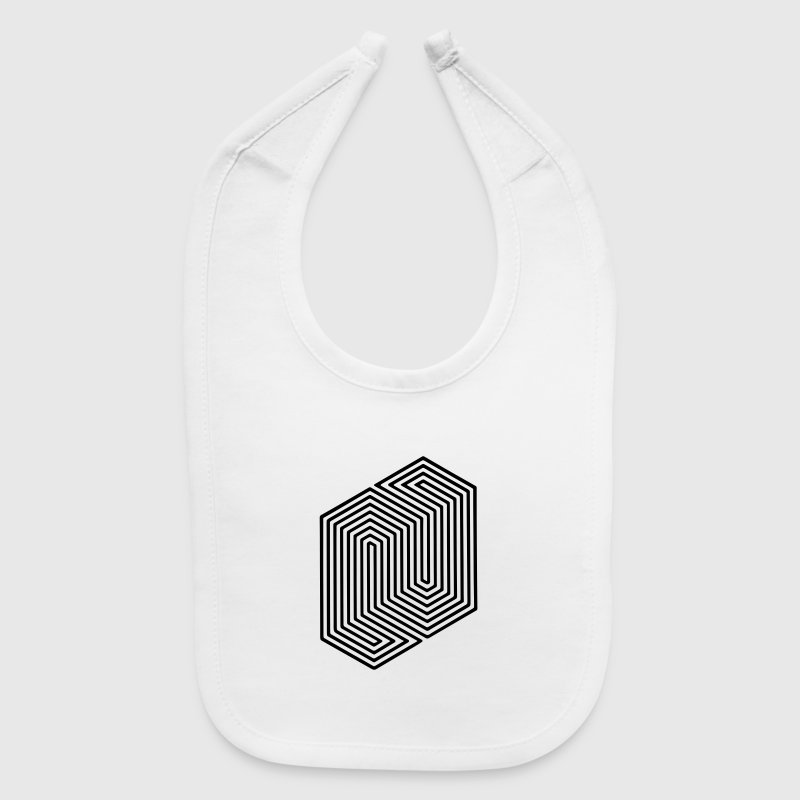 Optical Illusion (Impossible Minimal B & W Lines) Baby Bibs - Baby Bib