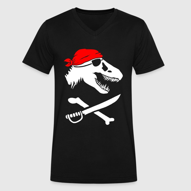 Jurassic Pirate - Men's V-Neck T-Shirt by Canvas