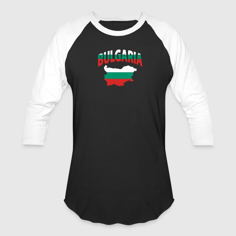 Bulgaria flag map baseball tee - Baseball T-Shirt