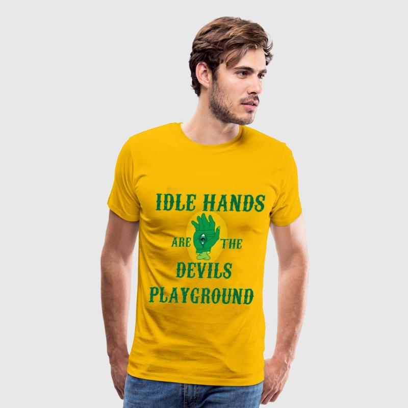 Idle Hands yellow t shirt - Men's Premium T-Shirt