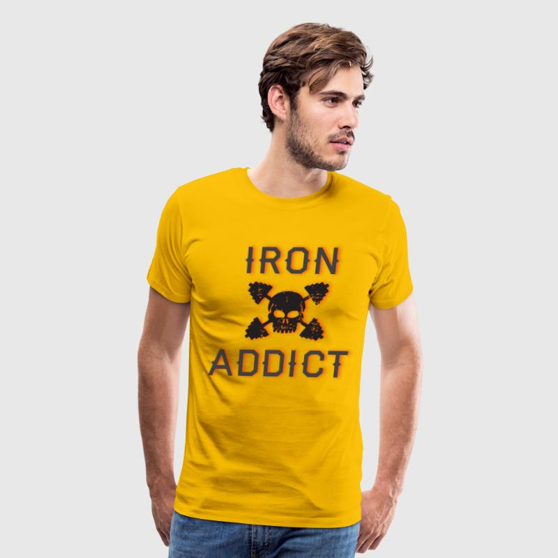 Iron Addict yellow t shirt - Men's Premium T-Shirt