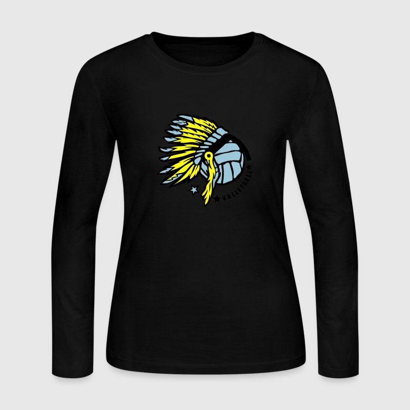 volleyball indian headdress head  Long Sleeve Shirts - Women's Long Sleeve Jersey T-Shirt