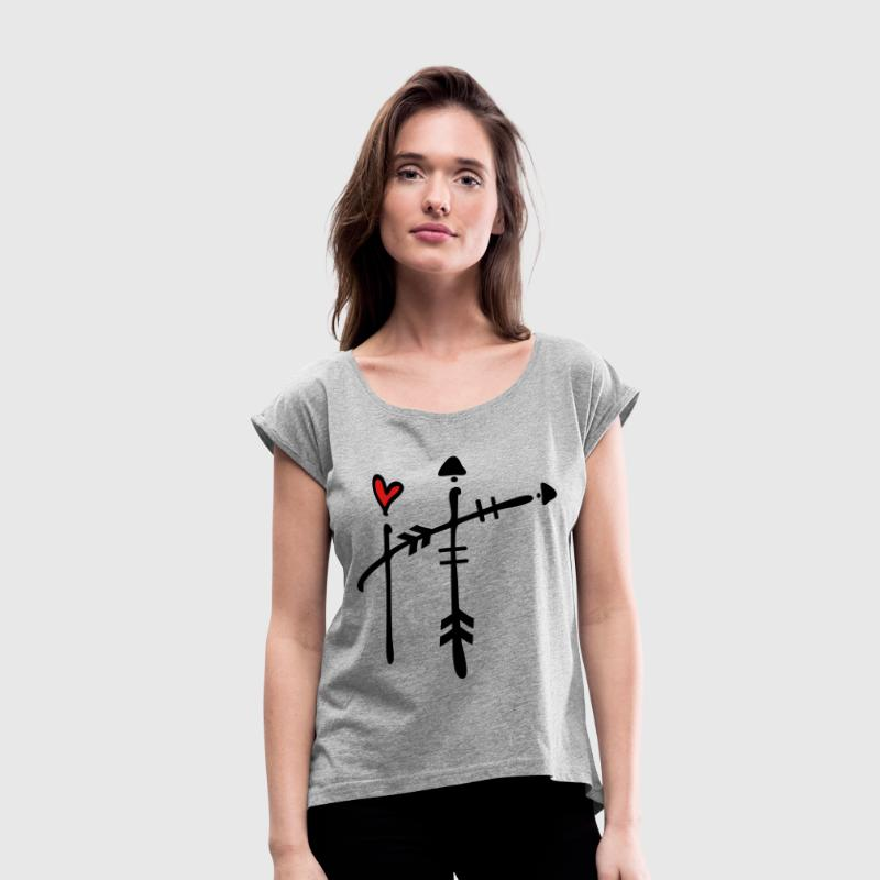 Capital letter H Women´s Rolled Sleeve Boxy T-Shi - Women's Roll Cuff T-Shirt