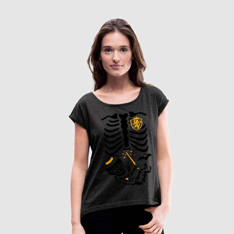 Skeleton Maternity Witch T-Shirts - Women's Roll Cuff T-Shirt