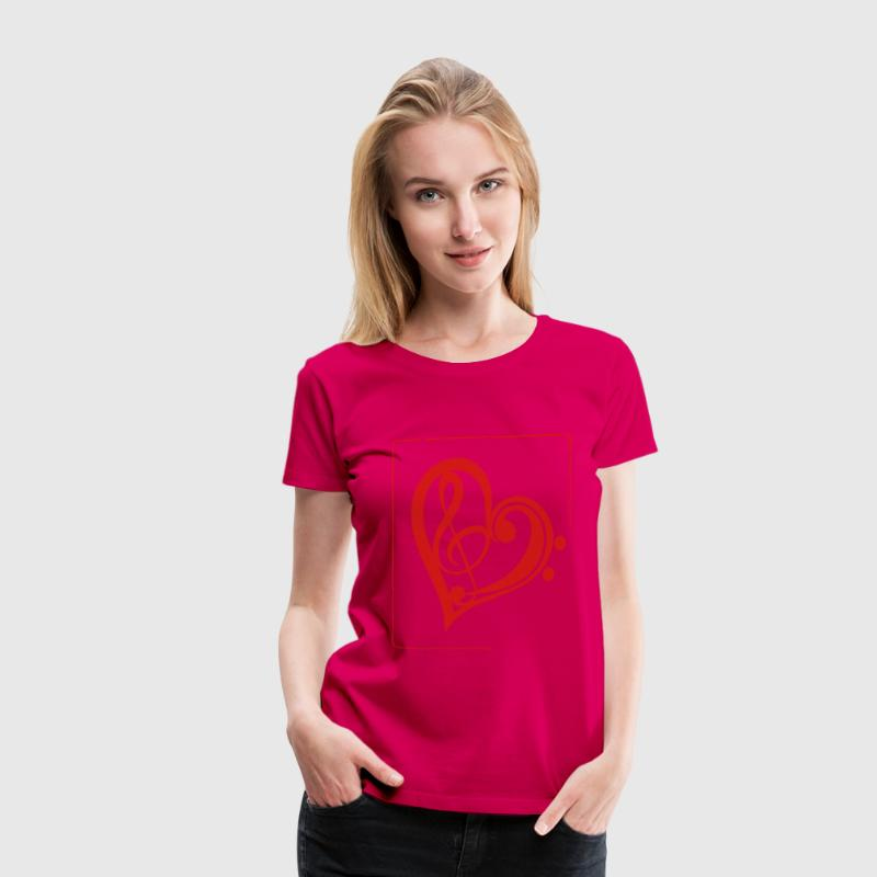 Treble & Bass Clef Heart - Women's Premium T-Shirt