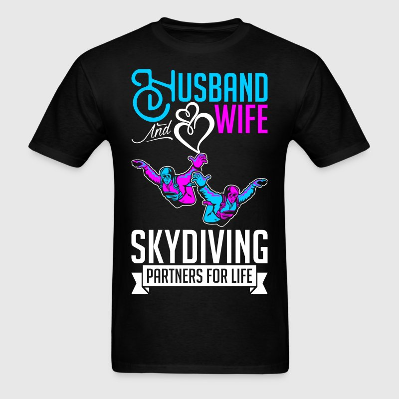 Husband And Wife Skydiving Partners For Life T-Shirts - Men's T-Shirt