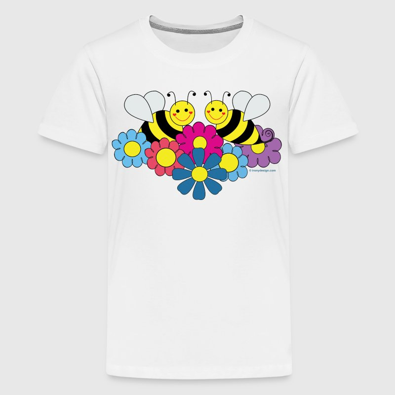 Bees & Flowers Design - Kids' Premium T-Shirt