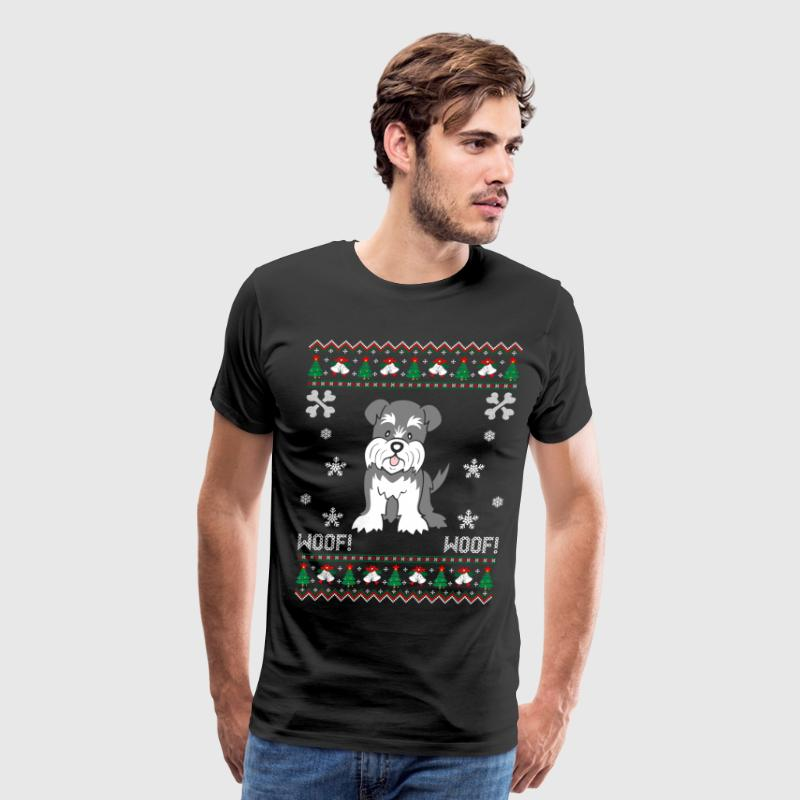 Schnauzer Ugly Christmas Sweater T-Shirts - Men's Premium T-Shirt
