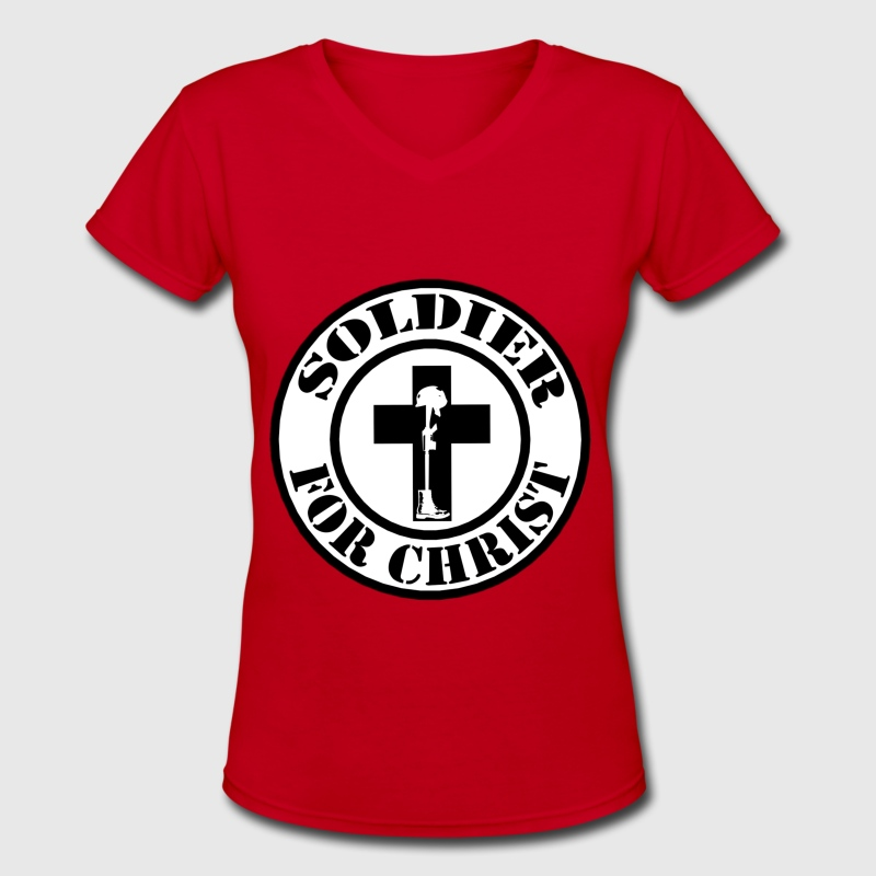 Ladies Soldier for Christ design - Women's V-Neck T-Shirt